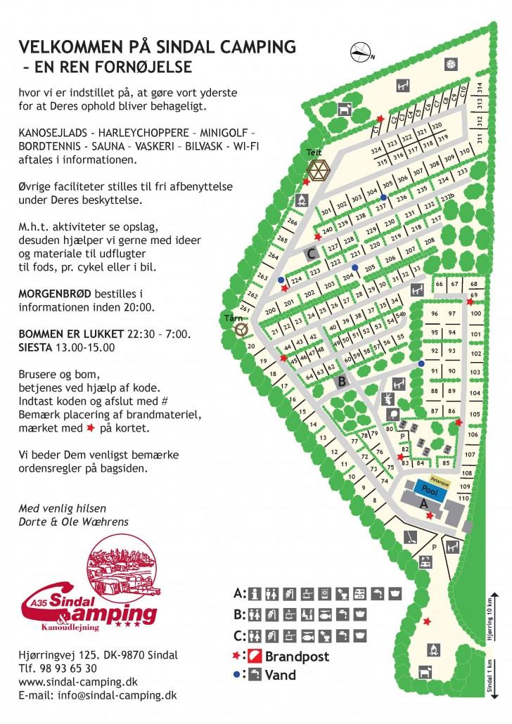 Sindal Camping - oversigt over Sindal Camping - Kort af pladsen